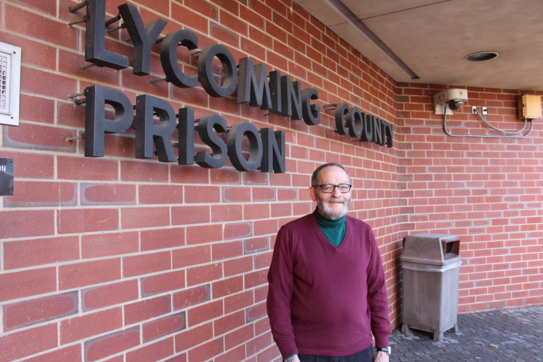 CARA MORNINGSTAR/Sun-Gazette Rev. Andy France, the Lycoming County prison chaplain, stands outside the Lycoming County prison in Williamsport recently.