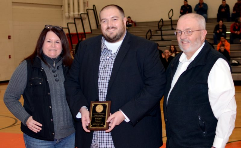 FRANK DIMON/For The Sun-Gazette District 4 Wrestling Hall of Fame inductee Mitch Rupert of the Williamsport Sun-Gazette, with parents Darla Sitler and Skip Rupert.