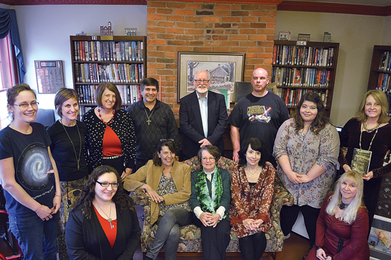 COURTNEY HAYDEN/Sun-Gazette Local authors came together on Jan. 28 to celebrate the Muncy Public Library's 80th anniversary with their Authors in Our Backyard event. Pictured is Christine Beishland (top row, left), Tara Shoemaker Holdren, Marjorie Maddox, Michael Anthony Cillo, Larry Stout, Kevin Coolidge, Chantal Gadoury, Nancy Magargle, Jade Heasley (bottom row, left), Carol Strayer-McTurner, Shirley E. Leonard, Carrie Anne Nobel and Antonia Marie Watts.