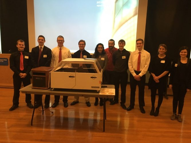 PHOTO PROVIDED Shown, from left, are Sam Penman, Evan Barone, LJ Boone, Michael LeBlanc, Lauren Zangara, Andrew Pauhamus (advisor), Sean Bush, Caleb Hunter, Nina Schappel and Juliet Jacques