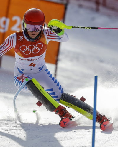 Mikaela Shiffrin, of the United States, skis during the first run of the women's slalom at the 2018 Winter Olympics in Pyeongchang, South Korea, Friday, Feb. 16, 2018. (AP Photo/Michael Probst)