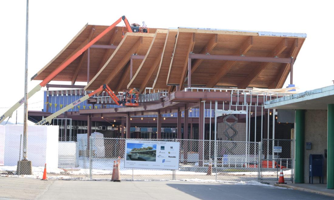KAREN VIBERT-KENNEDY/Sun-Gazette Work continues on the new terminal at the Williamsport Regional Airport in Montoursville on Tuesday.