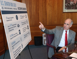 KAREN VIBERT-KENNEDY/Sun-Gazette Senator Bob Casey talks about his accomplishments during an editorial board meeting at the Williamsport Sun-Gazette on Wednesday morning.