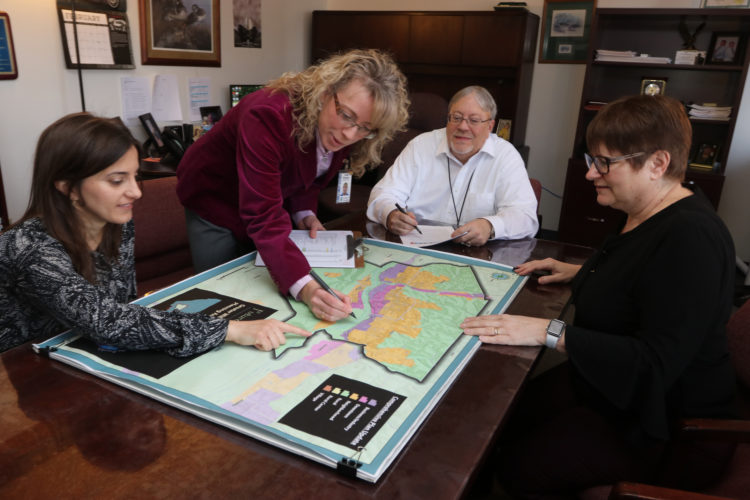 KAREN VIBERT-KENNEDY/SUN-GAZETTE Members of the county planning staff, below, look over maps that are part of the draft comprehensive plan. From left are Jenny Picciano, head planner; Kim Wheeler, deputy director of planning; Kurt Haussamman, director of planning; and Fran McJunkin, deputy director for geographic information systems.