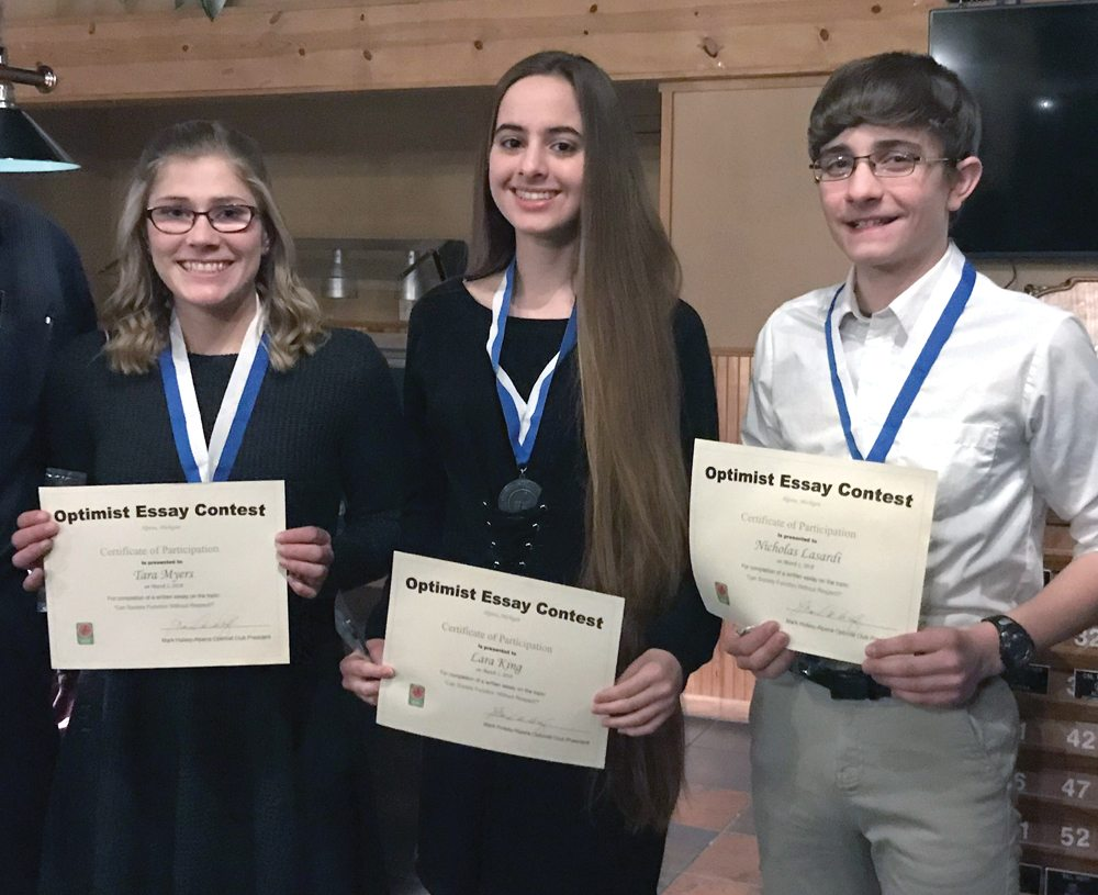 Optimists Club recognizes 3 essay contest winners | News, Sports ...
