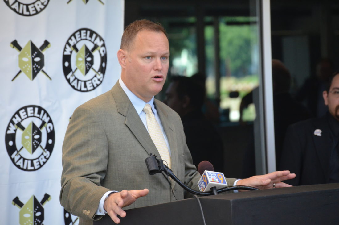 Photo by  Scott McCloskey Jeff Christian, new head coach of the Wheeling Nailers, speaks at a press conference this morning at WesBanco Arena.