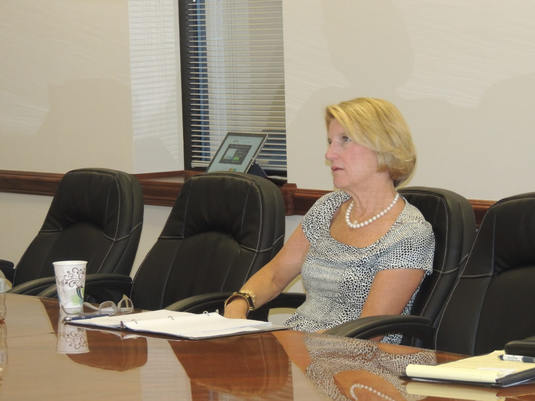 Photo by Drew Parker  Sen. Shelley Moore Capito, R-W.Va., leads a small business roundtable discussion Thursday at the Wheeling Area Chamber of Commerce office.