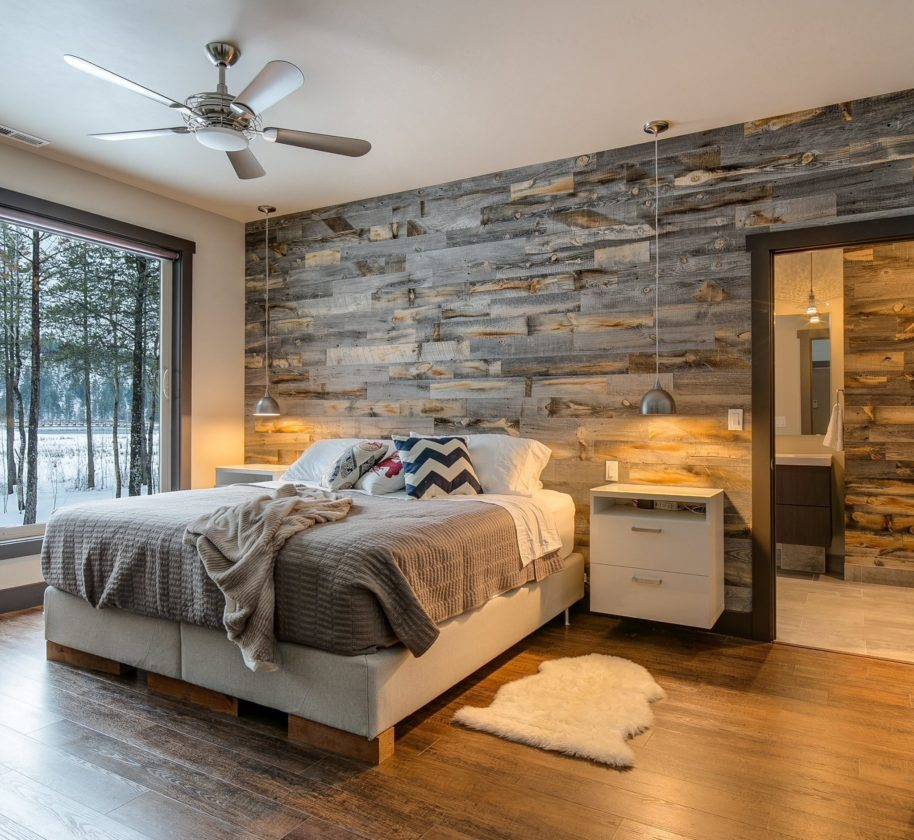 Charming This Undated Photo Provided By Stikwood Shows A Bedroom With A Wood Wall. Wood  Walls Are A Strong Décor Trend, And Theyu0027re A Far Cry From The Dowdy  Paneling ...