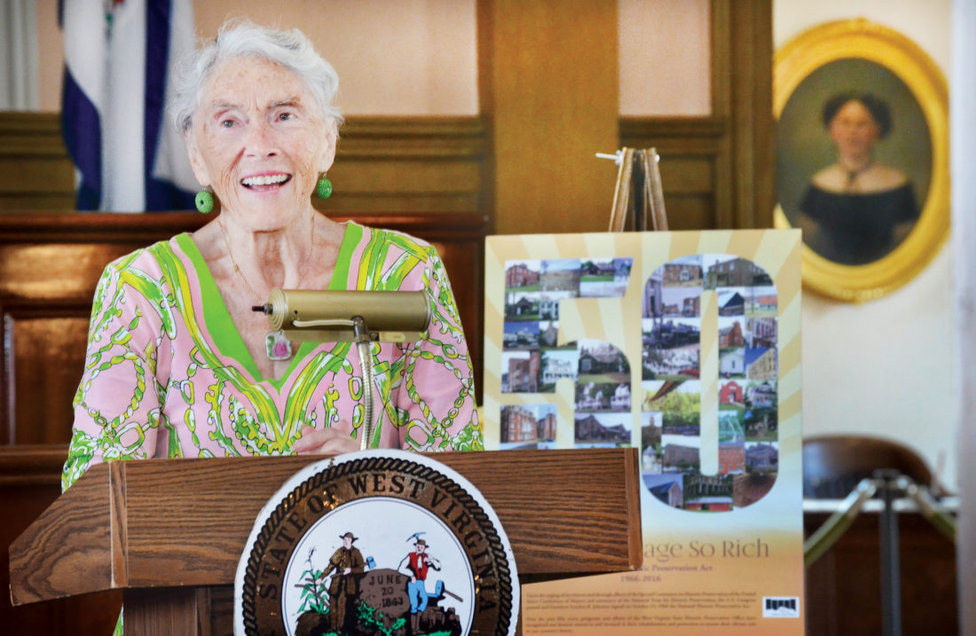 "Photo by Scott McCloskey Betty Woods ""Snookie"" Nutting of Wheeling speaks Friday of her efforts to preserve 22 historic buildings in the city. A new lecture series at West Virginia Independence Hall is named in Nutting's honor."