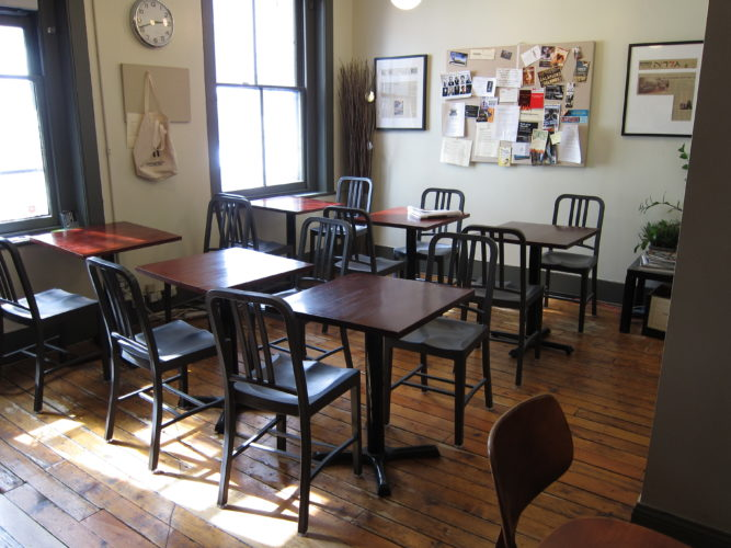 This Sept. 22, 2016 photo provided by Paragraph, shows the cafe area at Paragraph, a workspace for writers in New York.  (Ilana Masad/Paragraph via AP)