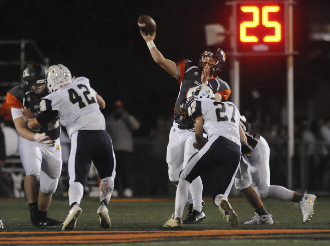 Photo by Ronald Agnir/The Journal Quarterback Tyson Bagent is looking to become the latest Martinsburg quarterback to lead his team to a state championships. The Bulldogs haven't allowed a point in the postseason.