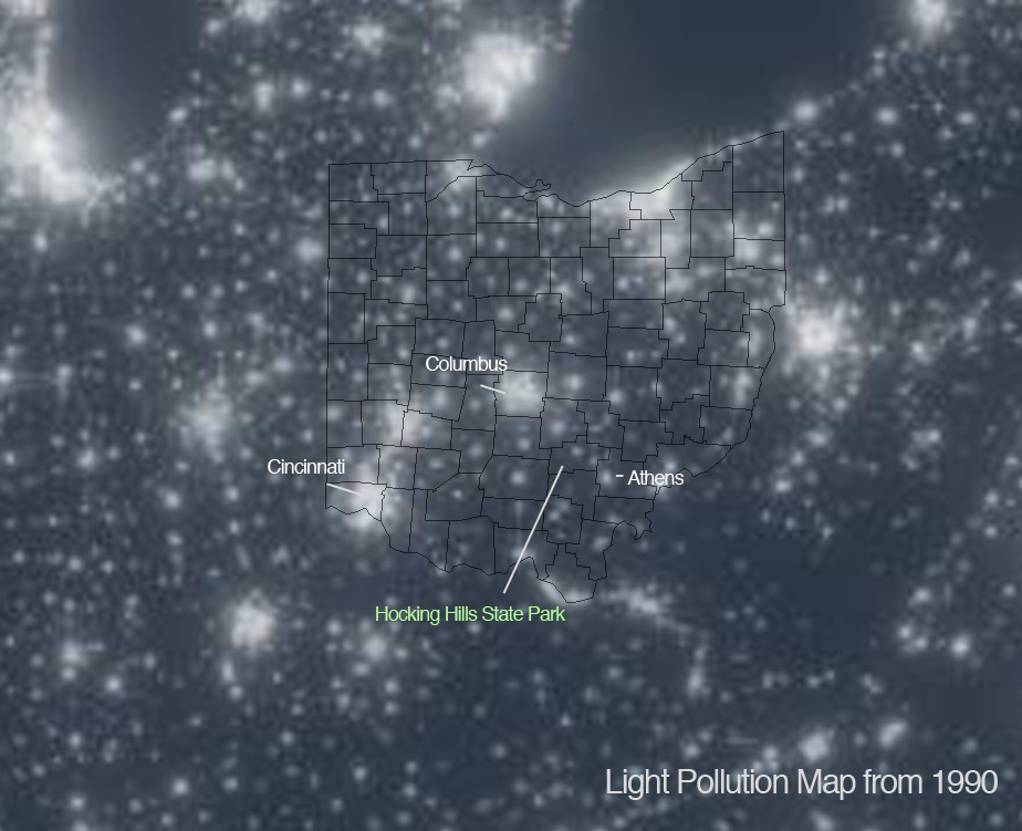 Photo Provided This satellite image provided by the Friends of Hocking Hills State Park shows light pollution in and around Ohio while pointing to a dark area where the park is located in Logan County. The lack of light pollution makes it an ideal spot for stargazing.