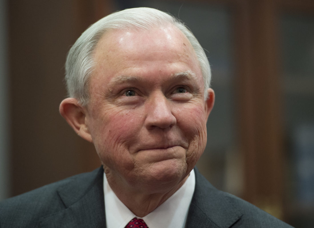FILE - In this Nov. 20, 2016, file photo, Attorney General nominee Sen. Jeff Sessions, R-Ala., on Capitol Hill in Washington. Sessions, is set to be questioned by his peers at a Senate Judiciary Committee confirmation hearing on Jan. 10. (AP Photo/Molly Riley, File)