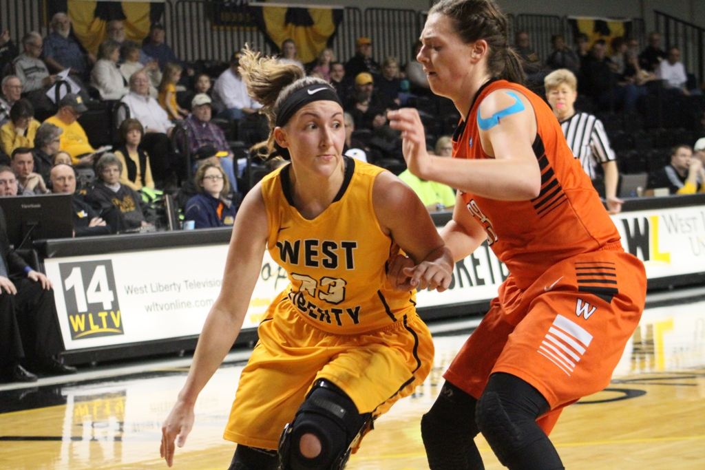 Photo provided by WLU Athletics West Liberty's Emily Bucon drives to the bucket during Thursday night's game.