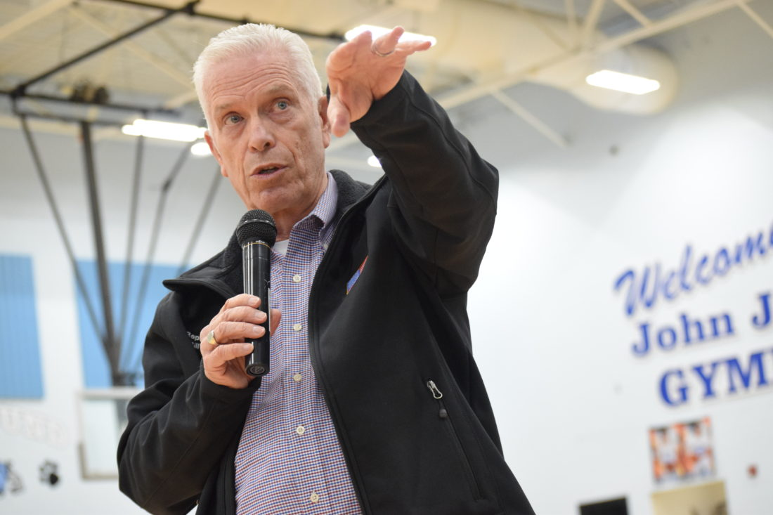 Photo by Shelley Hanson U.S. Rep. Bill Johnson, R-Ohio, addresses Bridgeport High School seniors and juniors during an assembly on Monday at the school.