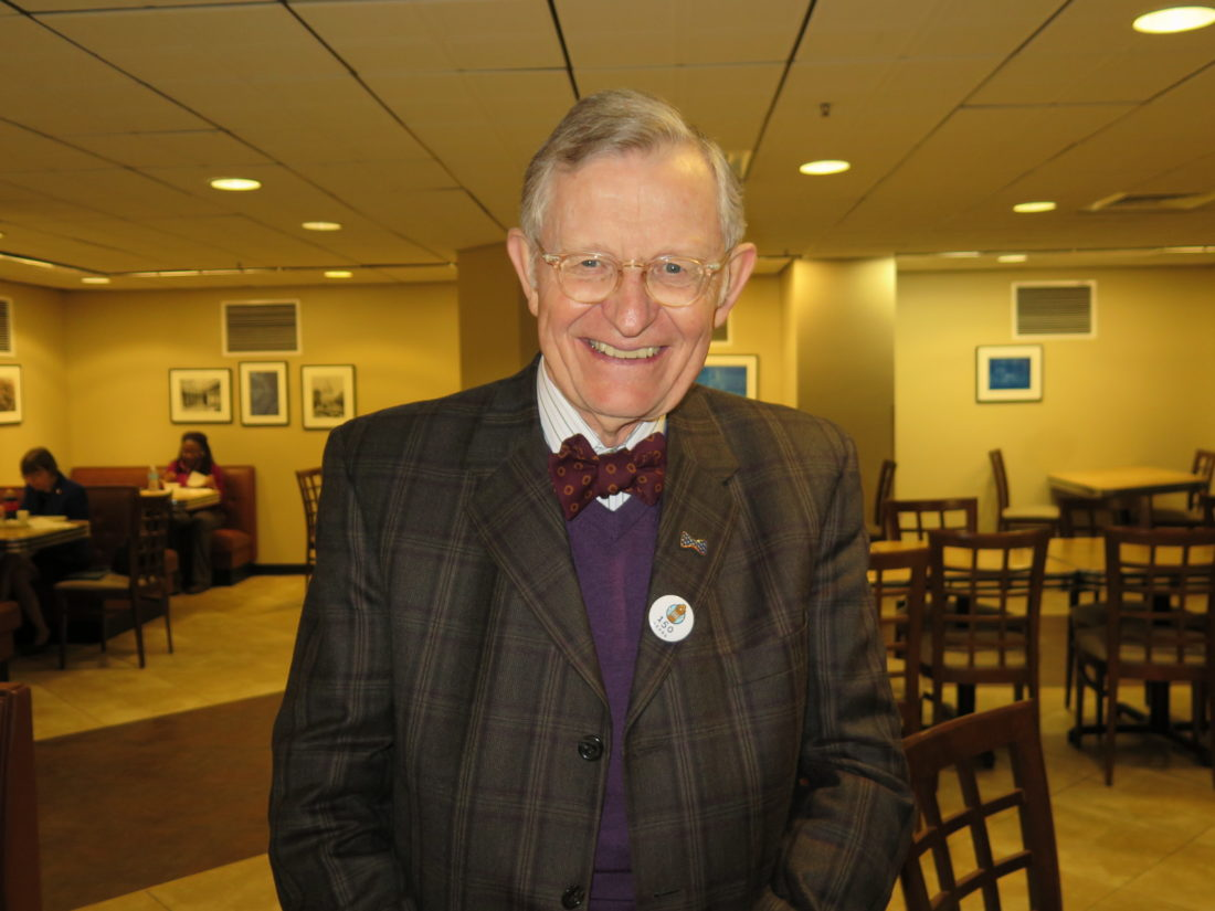 """Photo by Joselyn King West Virginia University President E. Gordon Gee takes a lunch break in the cafeteria at the Capitol in Charleston in between """"Higher Education Day"""" events at the Legislature on Wednesday."""