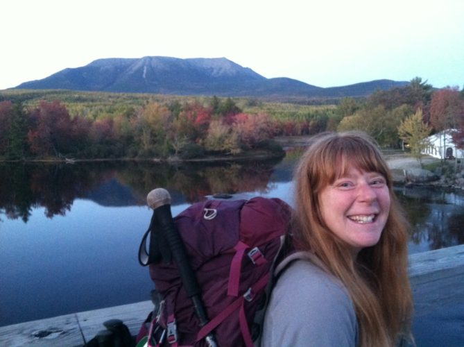 "Sarah  Morgan poses on the Appalachian Trail with Katahdin            in the           background. The name means ""the greatest   mountain,"" and it is the final summit on the trail in Maine. Photos Provided"