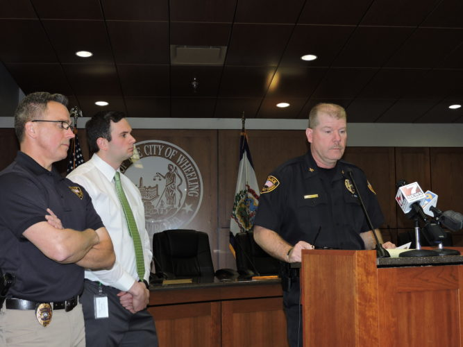 Photo by Heather Ziegler Wheeling Police Chief Shawn Schwertfeger is shown at press conference on the day of Ahmid Salem Hinton's murder.