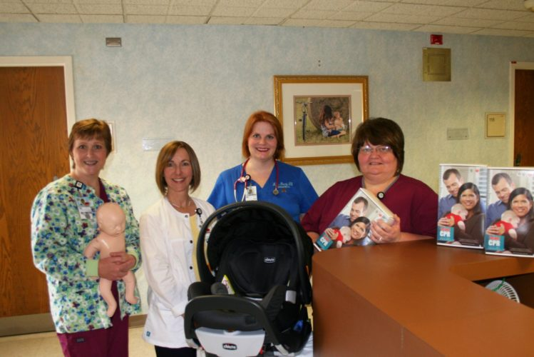 Photo Provided Getting ready for Grandparents Camp at Ohio Valley Medical Center are, from left, registered nurses Janet Wolfe-Medovic and Sherri Kellas, Dr. Mackenzie Mincey and nurse manager Lynette DeBertrand.