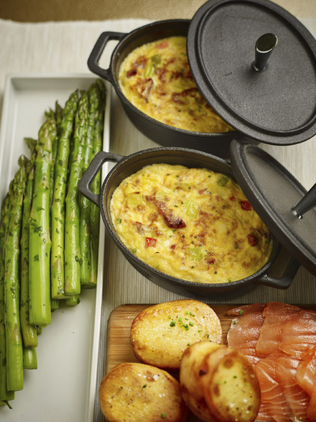 This April 3, 2017 photo provided by The Culinary Institute of America shows a spring leek frittata in Hyde Park, N.Y. This dish is from a recipe by the CIA. (Phil Mansfield/The Culinary Institute of America via AP)