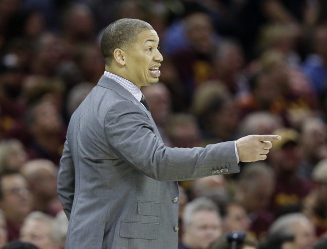 Cleveland Cavaliers head coach Tyronn Lue directs his team against the Boston Celtics during the first half of Game 3 of the NBA basketball Eastern Conference finals, Sunday, May 21, 2017, in Cleveland. (AP Photo/Tony Dejak)