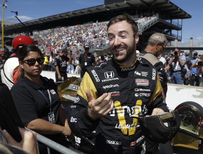James Hinchcliffe, of Canada, smiles during qualifications for the Indianapolis 500 IndyCar auto race at Indianapolis Motor Speedway, Sunday, May 21, 2017, in Indianapolis. (AP Photo/Darron Cummings)