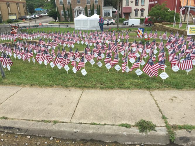 Photos provided More than 350 flags stand in remembrance of fallen soldiers at the Cameron Veterans Memorial Park.