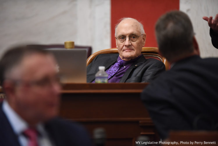 Photo by Perry Bennett, W.Va. Legislature West Virginia Sen. Charles Clements, R-Wetzel, looks on during a May 5 floor session. He was diagnosed with cancer in January.