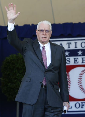 FILE - In this Sunday, July 24, 2016, file photo, National Baseball Hall of Famer Jim Bunning arrives for an induction ceremony at the Clark Sports Center in Cooperstown, N.Y. Hall of Fame pitcher Bunning, who went on to serve in Congress, has died. Bunning's death Friday, May 26, 2017, was confirmed by Jon Deuser, who served as chief of staff when Bunning was in the Senate. (AP Photo/Mike Groll, File)
