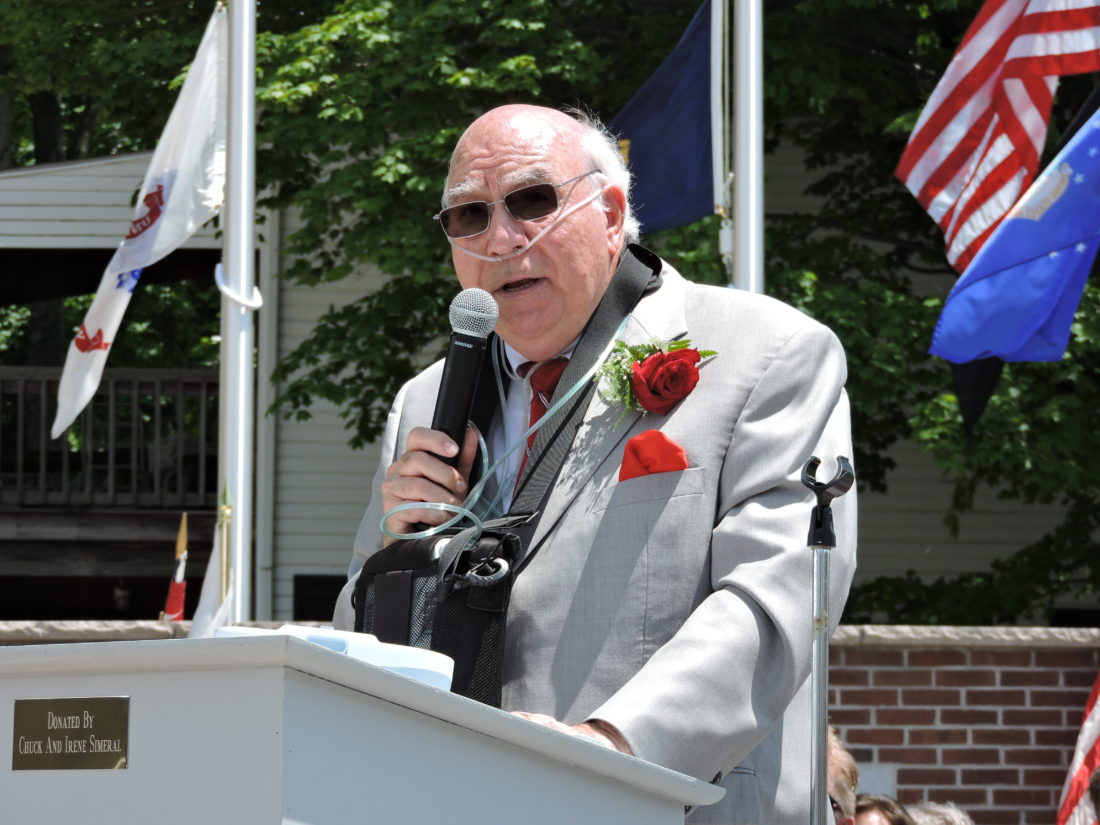 Robert E. Murray of Murray Energy Corp. speaks during the dedication of the Murray Family Memorial Plaza in Bethesda Monday.  Photo by Jennifer Compston-Strough