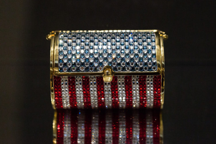 "This undated photo provided by the Museum of Arts and Design shows a minaudière by Judith Leiber, which was made in 1976 to celebrate the occasion of the American bicentennial. It is part of the exhibit ""Judith Leiber: Crafting a New York Story.""  AP Photo"
