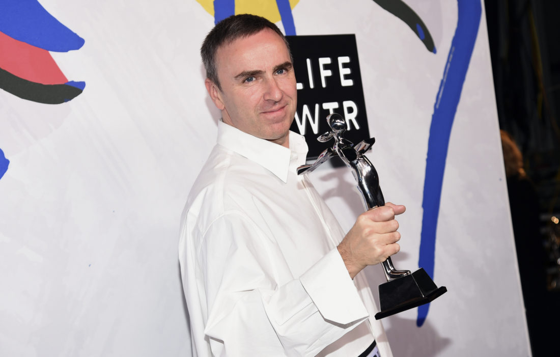Raf Simons, winner of the awards for menswear designer of the year and womenswear designer of the year, poses in the press room at the CFDA Fashion Awards at the Hammerstein Ballroom on Monday, June 5, 2017, in New York. (Photo by Evan Agostini/Invision/AP)
