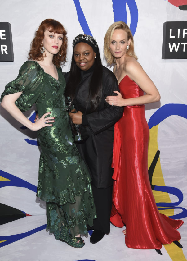 Pat McGrath, winner of the founders award in honor of Eleanor Lambert, center, poses in the press room with Karen Elson, far left, and Amber Valletta at the CFDA Fashion Awards at the Hammerstein Ballroom on Monday, June 5, 2017, in New York. (Photo by Evan Agostini/Invision/AP)