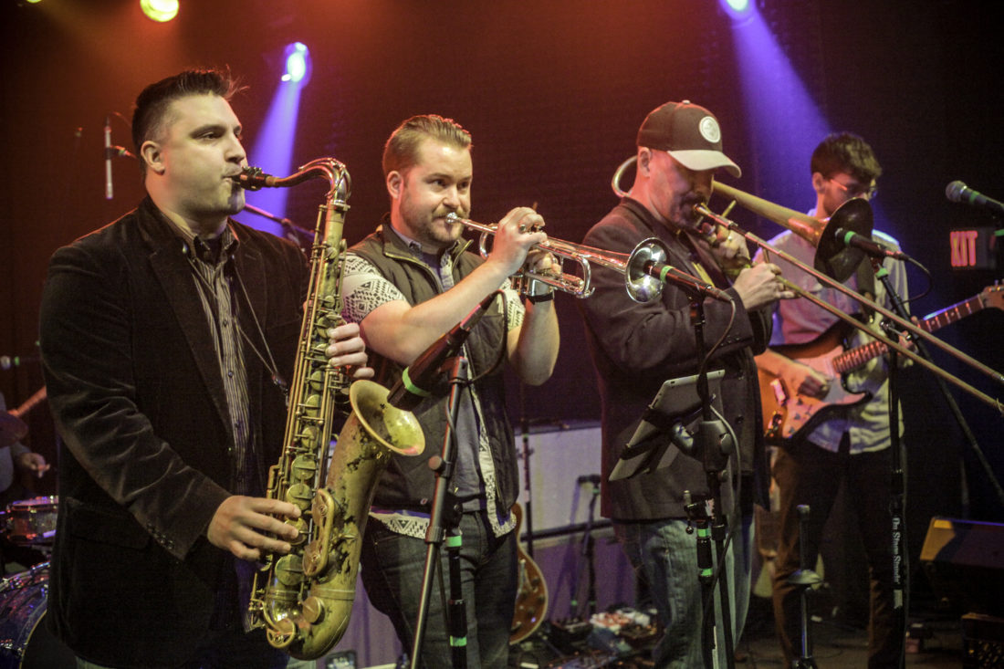 Photo Provided Reggie Watkins, third from left, performs on the trombone with the Steeltown Horns, which will headline the 2017 Wheeling Arts and Culture Fest at Wheeling Heritage Port Saturday at 5:30 p.m. The free concert caps two days of continuous live musical entertainment from 11 a.m. to 8 p.m.