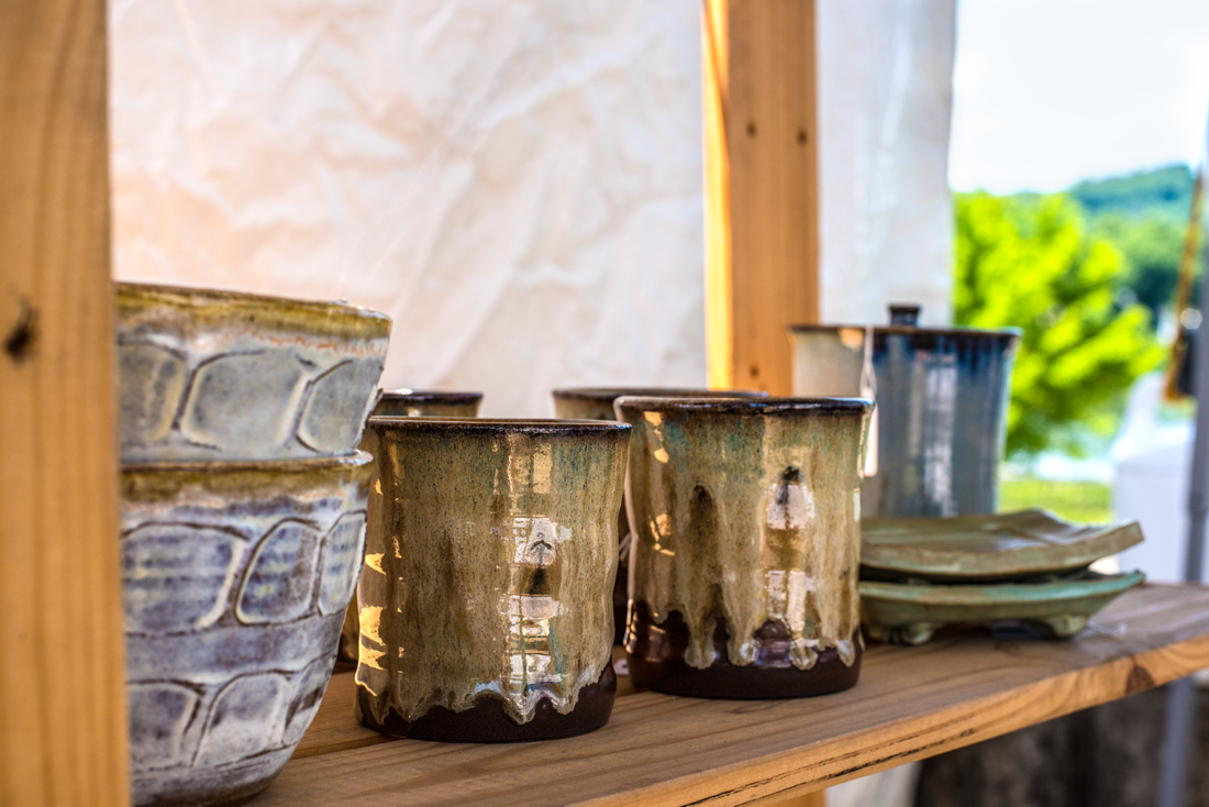 Pottery by East Wheeling Clay Works is displayed at the Wheeling Arts and Culture Fest.