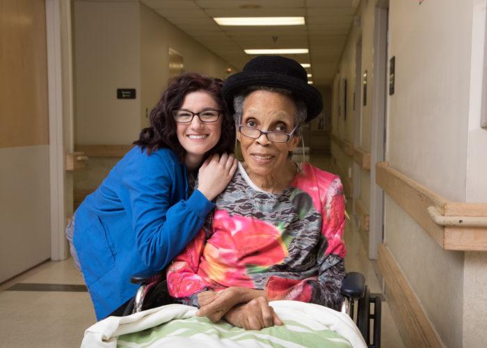 Photo Provided Good Shepherd Nursing Home employee Kirstie Kalany, left, enjoys a moment with resident Marva Howard at the facility on Edgington Lane in Wheeling.