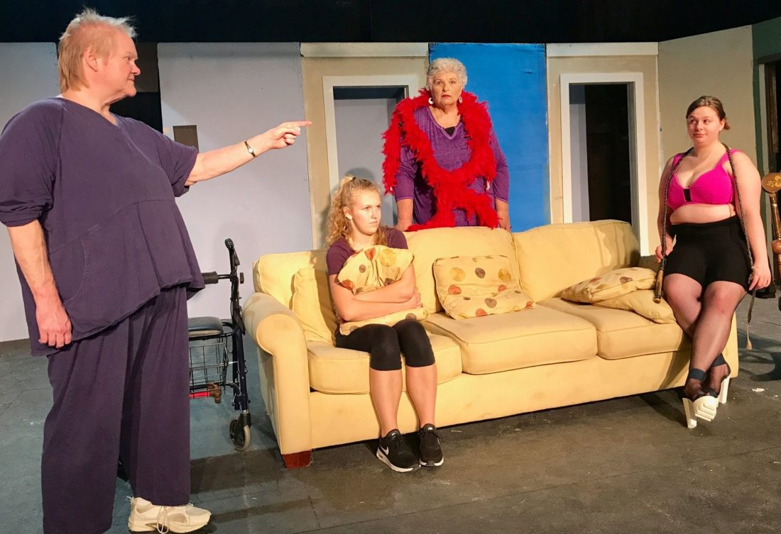 "Rehearsing a scene for the Brooke Hills Playhouse production of Katherine DiSavino's comedy, ""Nana's Naughty Knickers,"" are, from left, Michelle Turneer, Taylor Pannett, Cindy Quinn and Sierra Mortimer."