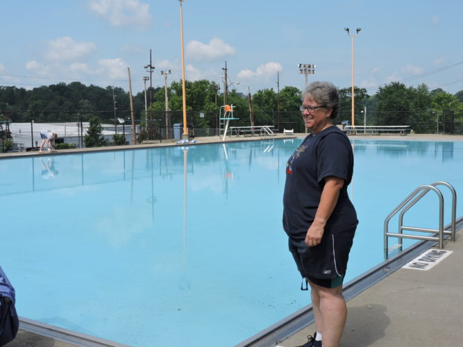 Photo by Dave Gossett Steubenville Recreation Director Lori Fetherolf checks out the Belleview Pool Friday afternoon after the pool passed the Jefferson County Health Department inspection earlier in the day. The pool will open for the summer season at noon today.