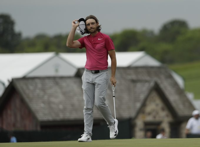 Tommy Fleetwood, of England, reacts on the 18th hole during the third round of the U.S. Open golf tournament Saturday, June 17, 2017, at Erin Hills in Erin, Wis. (AP Photo/David J. Phillip)