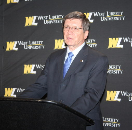 Photo Provided West Liberty University President Stephen Greiner announces Wednesday the launch of graduate degree programs in biology, beginning with the upcoming fall semester.
