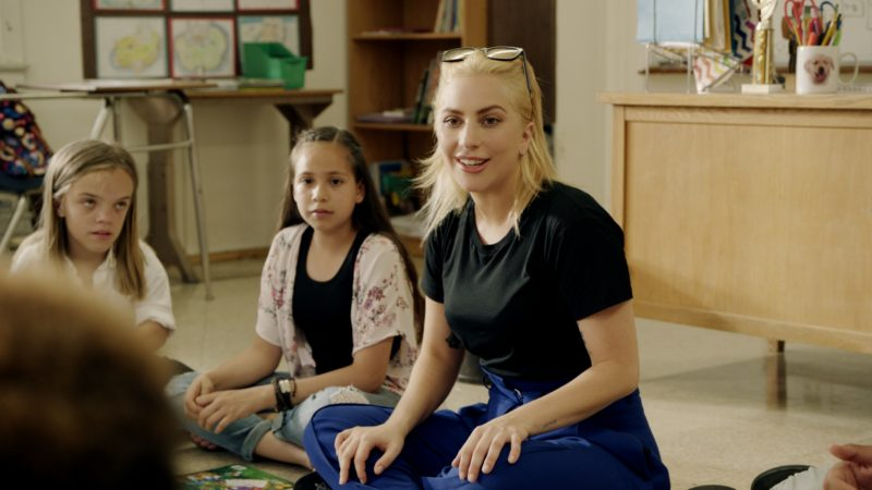 Photo Provided Lady Gaga recently met with students in California during the filming of the upcoming public service announcement for DonorsChoose.org and Born This Way Foundation. Gaga is teaming up with Staples Inc. to support education and create a positive classroom experience through its Staples for Students program.