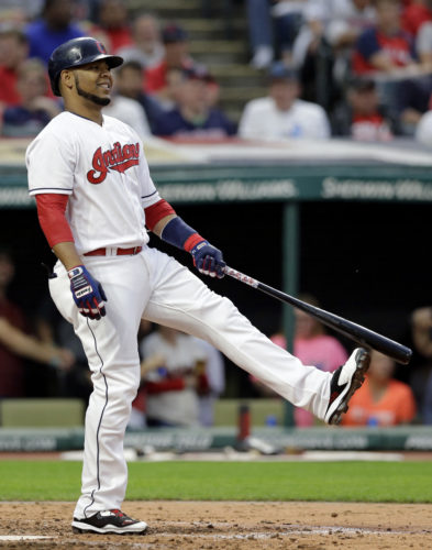 Cleveland Indians' Edwin Encarnacion reacts to a second strike against Minnesota Twins starting pitcher Adalberto Mejia during the third inning of a baseball game, Friday, June 23, 2017, in Cleveland. Encarnacion eventually grounded out. (AP Photo/Tony Dejak)
