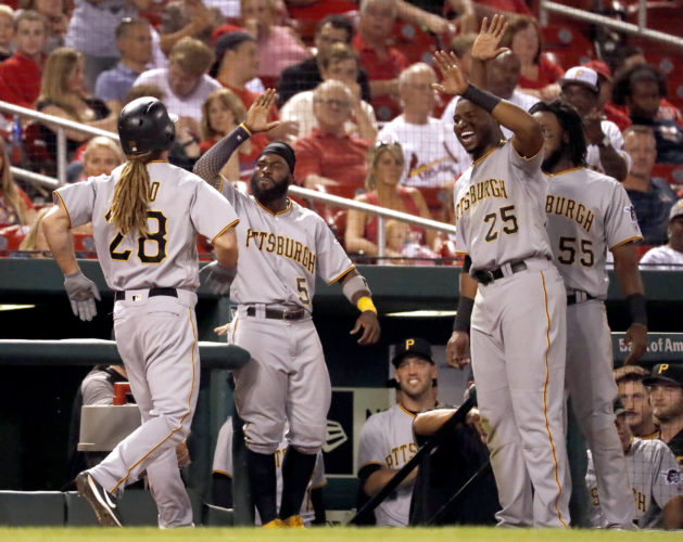 Pittsburgh Pirates' John Jaso (28) is congratulated by teammates Josh Harrison (5), Gregory Polanco (25) and Josh Bell (55) after hitting a solo home run during the ninth inning of a baseball game against the St. Louis Cardinals, Friday, June 23, 2017, in St. Louis. (AP Photo/Jeff Roberson)