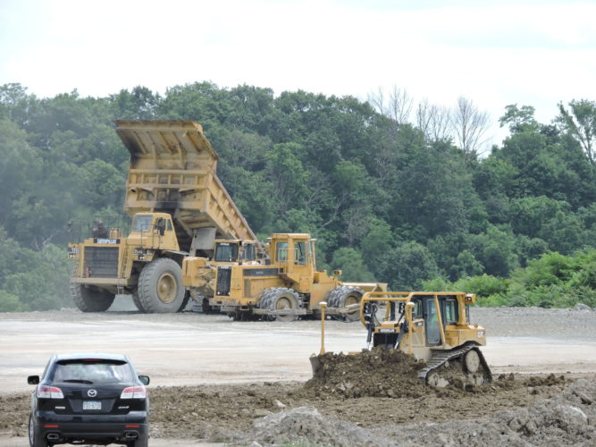 Photo by Casey Junkins Contractors working for the Ohio County Development Authority are moving earth at The Highlands in preparation for the Menards home improvement superstore.