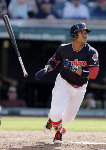 Cleveland Indians' Jose Ramirez watches his solo home run off Minnesota Twins starting pitcher Kyle Gibson in the fourth inning of a baseball game, Saturday, June 24, 2017, in Cleveland. (AP Photo/Tony Dejak)