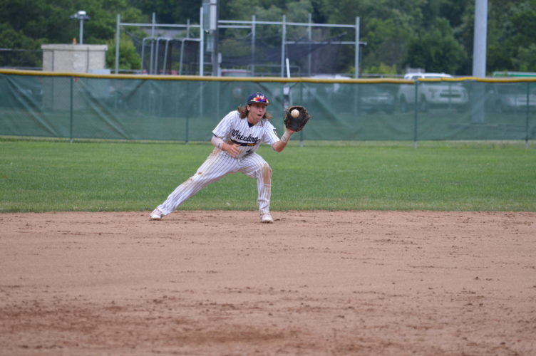 Photo by Cody Tomer / Wheeling Post 1 shortstop Jarrett Delbrugge fields a ball during a game earlier this season. Post 1 manager Mark Delbrugge said defense will be key to advancing deep into this weekend's Beast of the East Tournament.