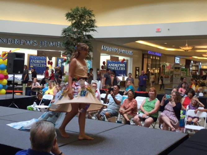 Upcycled Fashion Show      contestant Jean Kalb, 10, of     Triadelphia,    models her creation   during the 2016 show at the Ohio Valley Mall in St. Clairsville.   Photo  Provided