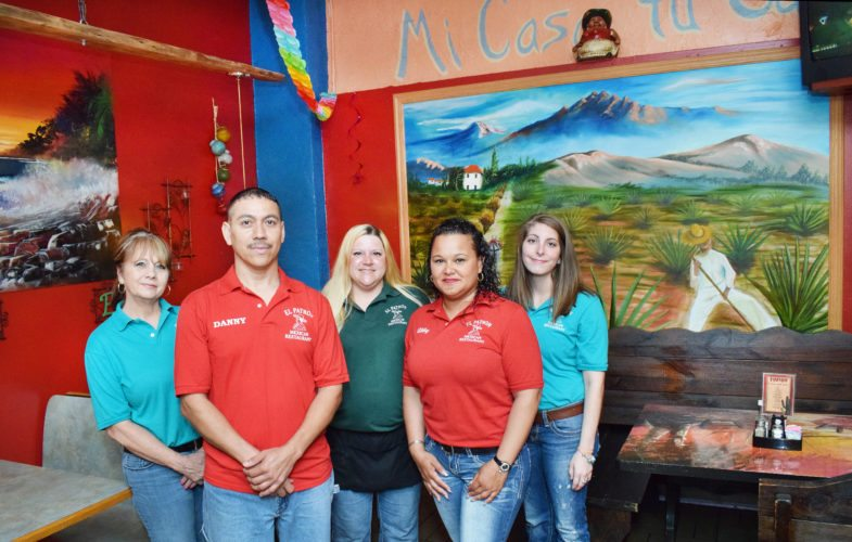 Photo by Scott McCloskey The staff and owners of El Patron, pictured from left, Pauline Hill, Daniel Martinez, Felicity Bolt, Abby Martinez and Kacey Ingram welcome visitors to try the delicious daily specials.