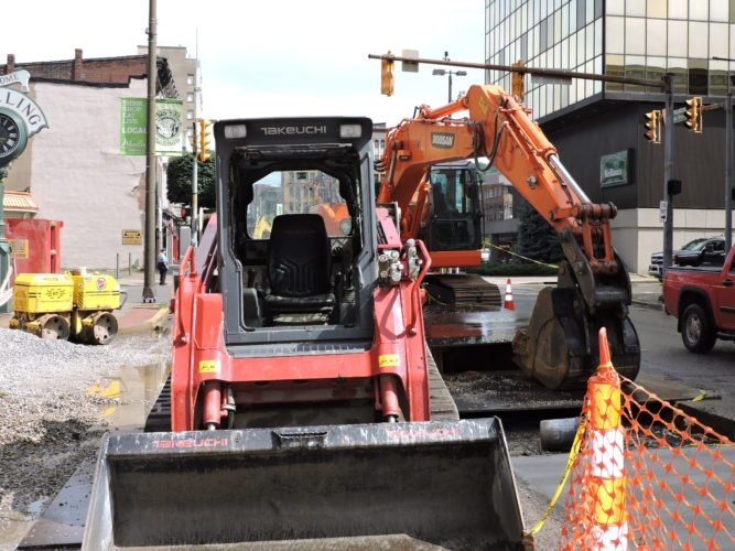 """A $755,000 stormwater             project on Main Street in           downtown Wheeling remains halted because            contractors need """"custom-made manholes"""" to cross a 20-inch water main, according to city Public Works Director Russell Jebbia.  Photo by  Casey Junkins"""