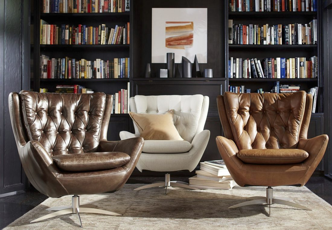With A Nod To Mid Century Modern Style, The Wells Swivel Chair Incorporates  Classic Detailing Like Tufting And The Wing ...